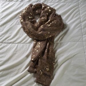 Cool toned chiffon and sequin scarf/wrap